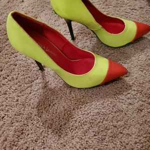 Red and lime green heels